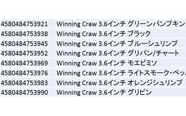 ウイニング クロー 3.6インチ [Winning Craw 3.6 inch]:9月発売詳細