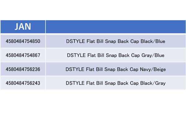 DSTYLE Flat Bill Snap Back Cap詳細
