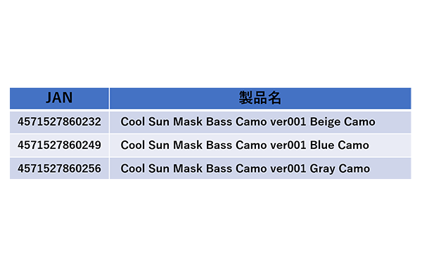 Cool Sun Mask Bass Camo ver001詳細