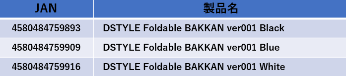 DSTYLE Foldable BAKKAN ver001詳細
